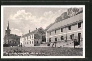 AK Wegscheid im Halltal, Ortspartie mit Hotel & Pension Puhm und Kirche