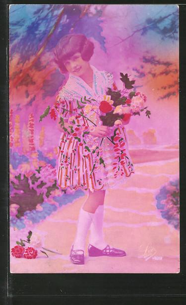 Foto-AK Leo, Paris Nr. 1499: Kleine Dame mit Blumenstrauss