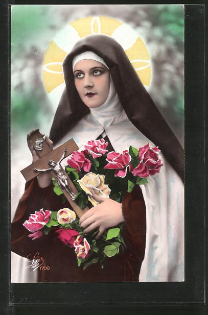 Foto-AK Leo, Paris Nr. 1700: Nonne mit Kreuz und Rosen