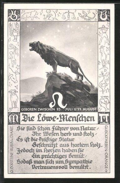 AK Sternzeichen Löwe, Eigenschaften des Löwe-Menschen, Löwe steht auf einem  Felsen