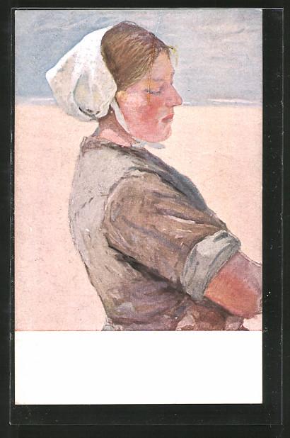 Künstler-AK G. Hirth's Verlag, Serie XXI/4: Holländerin mit Haube im Sonnenlicht