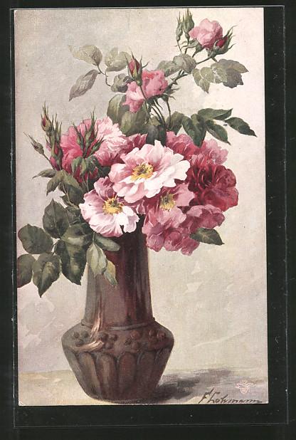 Künstler-AK Wohlgemuth & Lissner, Primus-Postkarte No. 881: Frisch gepflückt, Blumenstrauss