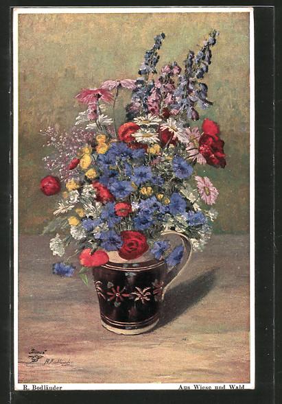 Künstler-AK Wohlgemuth & Lissner, Primus-Postkarte No. 315: Aus Wiese und Wald, Blumenvase