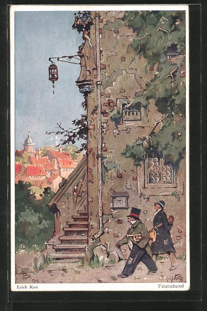 Künstler-AK Wohlgemuth & Lissner, Primus-Postkarte No. 3098: Feierabend, Strassenmusiker