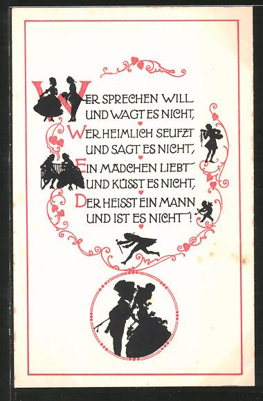 Künstler-AK Wohlgemuth & Lissner, Primus-Postkarte No. 1267: Weisheitsregeln, Wer sprechen will und wagt es nicht...