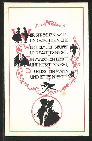 Künstler-AK Wohlgemuth & Lissner, Primus-Postkarte No. 1267: Wer sprechen will und wagt es nicht..., Weisheitsregeln