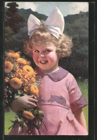 AK Kleines Mädchen mit Haarschleife und bunten Blumen