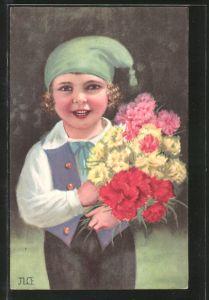 Künstler-AK Kleiner Kerl mit Zipfelmütze und bunten Nelken