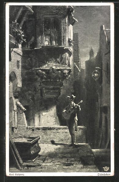 Künstler-AK Wohlgemuth & Lissner, Primus-Postkarte No. 1102: Ständchen, Gitarrenspieler unter Erker
