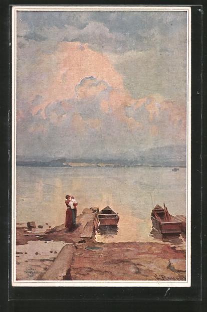 Künstler-AK Wohlgemuth & Lissner, Primus-Postkarte No. 5015: Vaters Heimkehr, Familie am Ufer