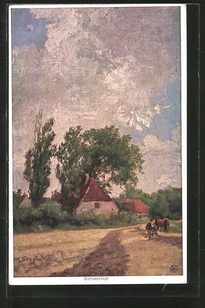 Künstler-AK Wohlgemuth & Lissner, Primus-Postkarte No. 1174: Sommertage, ländliches Idyll
