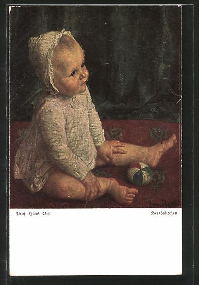 Künstler-AK Wohlgemuth & Lissner, Primus-Postkarte No. 3014: Herzblättchen, Säugling mit Ball