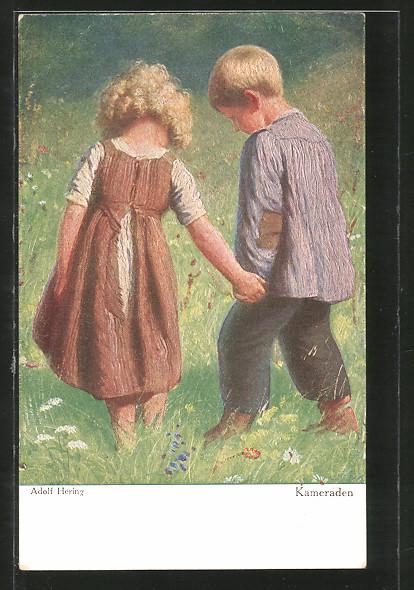 Künstler-AK Wohlgemuth & Lissner, Primus-Postkarte No. 3051: Kameraden, blonde Kinder