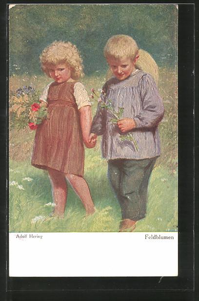 Künstler-AK Wohlgemuth & Lissner, Primus-Postkarte No. 3016: Feldblumen, kleines blondes Paar