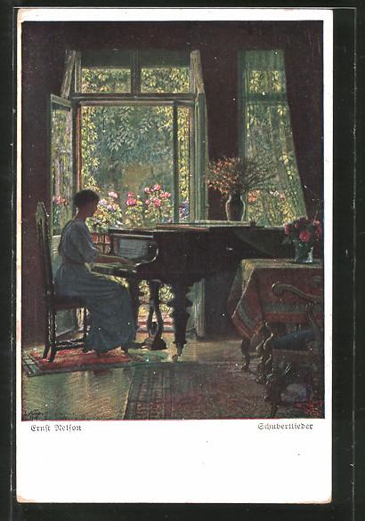 Künstler-AK Wohlgemuth & Lissner, Primus-Postkarte No. 3100: Schubertlieder, Dame am Flügel