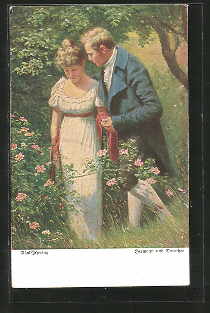 Künstler-AK Wohlgemuth & Lissner, Primus-Postkarte No. 3052: Hermann und Dorothea, Liebespaar im Grünen