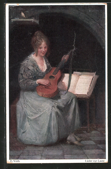 Künstler-AK Wohlgemuth & Lissner, Primus-Postkarte No. 5064: Lieder zur Laute, Fräulein mit Saiteninstrument
