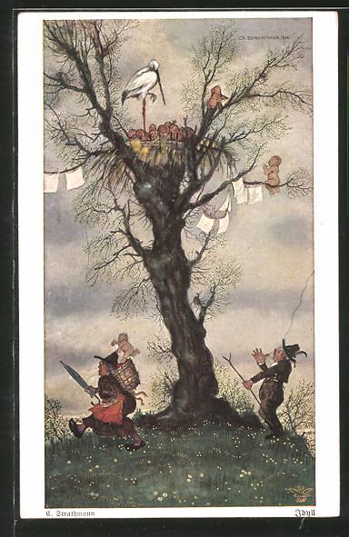 Künstler-AK Wohlgemuth & Lissner, Primus-Postkarte No. 3004: Idyll, Klapperstorch verteilt Säuglinge