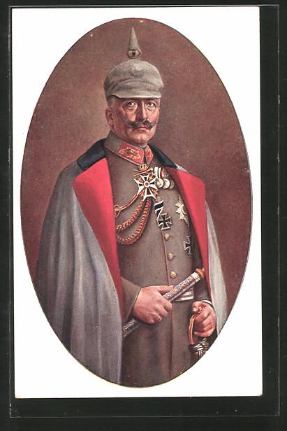 Künstler-AK Kaiser Wilhelm II. mit Pickelhaube-Überzug