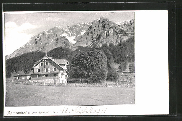 AK Ramsauhof, Ortsansicht mit Bergpanorama
