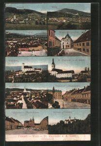 AK Gleisdorf, Ortsansicht, versch. Ortsansichten Passail, Weiz, St. Ruprecht