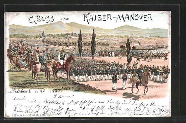 Lithographie Kaisermanöver, Wilhelm II. bei Parade