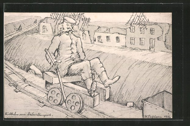 Künstler-AK Rückkehr vom Materialtransport, Soldatenhumor, Feldbahn
