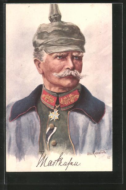Künstler-AK Generalfeldmarschall von Mackensen mit Pour le Mérite und Pickelhaube-Überzug