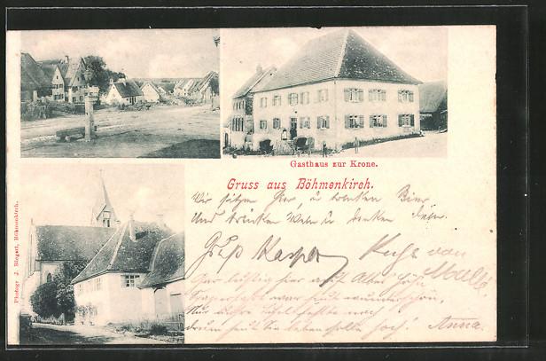 AK Böhmenkirch, Gasthaus zur Krone, Kirche, Ortspartie