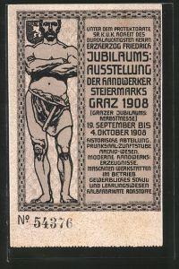 AK Graz, Jubiläums-Ausstellung d. Handwerker Steiermarks 1908, Handwerker mit Hammer, Wappen
