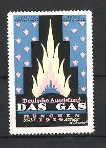 Künstler-Reklamemarke M. Schwarzer, München, Deutsche Ausstellung Das Gas 1914, Flamme und Ornamente