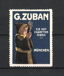 Künstler-Reklamemarke Ludwig Hohlwein, München, Zigaretten-Fabrik G. Zuban, Münchner Kindl raucht Zigarette