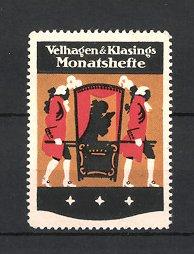 Reklamemarke Velhagen & Klasings Monatshefte, Adliger in Sänfte liest Zeitschrift