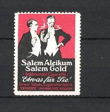 Reklamemarke Dresden, Salem Aleikum & Salem Gold Zigarette, Yenidze Orient Tabak & Zigarettenfabrik Hugo Zietz