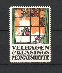 Künstler-Reklamemarke J.B. Maier, Velhagen & Klasings Monatshefte, Fensterblick mit Windmühle