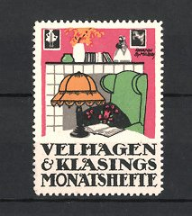 Künstler-Reklamemarke J.B. Maier, Velhagen & Klasings Monatshefte, Wohnzimmer mit Kamin, Buch auf Tisch liegend