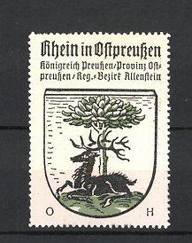 Reklamemarke Rhein / Ostpreussen, Wappen, Königreich Preussen, Provinz Ostpreussen, Regierungs-Bezirk Allenstein