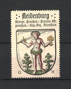 Reklamemarke Neidenburg, Wappen, Königreich Preussen, Provinz Ostpreussen, Regierungs-Bezirk Allenstein