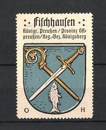 Reklamemarke Fischhausen, Wappen, Königreich Preussen, Provinz Ostpreussen, Regierungs-Bezirk Königsberg