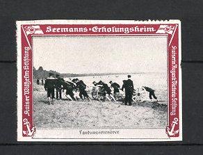 Reklamemarke Kaiserliche Marine, Seemanns-Erholungsheim, Landungsmanöver der Marine-Infanterie & Artillerie