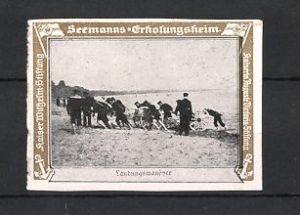 Reklamemarke Kaiserliche Marine, Seemanns-Erholungsheim, Marine Infanterie & Artillerie beim Landungsmanöver