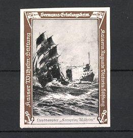 Reklamemarke Kaiserliche Marine, Seemanns-Erholungsheim, Dampfer Kronprinz Wilhelm des Norddeutschen Lloyd Bremen