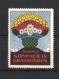 Reklamemarke Schweiz, Sommer in Graubünden, Blumenkübel & Ansicht der schweizer Alpen