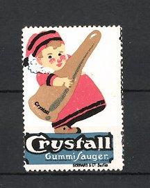 Reklamemarke Crystall Gummi-Sauger, Baby schleppt riesigen Gummisauger