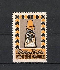 Reklamemarke Pelikan Tusche, Günther Wagner, Flasche Perl-Tusche