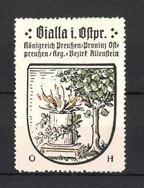 Reklamemarke Bialla, Wappen, Königreich Preussen, Provinz Ostpreussen, Regierungs-Bezirk Allenstein