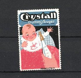 Reklamemarke Crystall Gummi-Sauger, Baby freut sich auf's Fläschchen