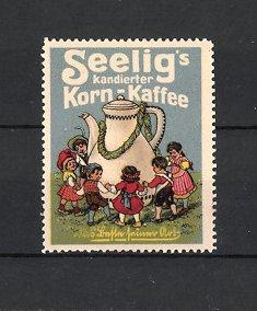 Reklamemarke Heilbronn, Seelig's Korn-Kaffee, Emil Seelig AG, Kinder tanzen um Kaffee-Kanne