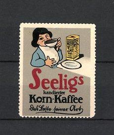 Reklamemarke Heilbronn, Seelig's Korn-Kaffee, Emil Seelig AG, Mädchen trinkt Kaffee