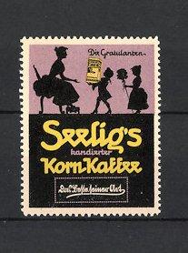 Reklamemarke Heilbronn, Seelig's Korn-Kaffee, Emil Seelig AG, Silhouette Kinder beschenken Mutter zum Muttertag